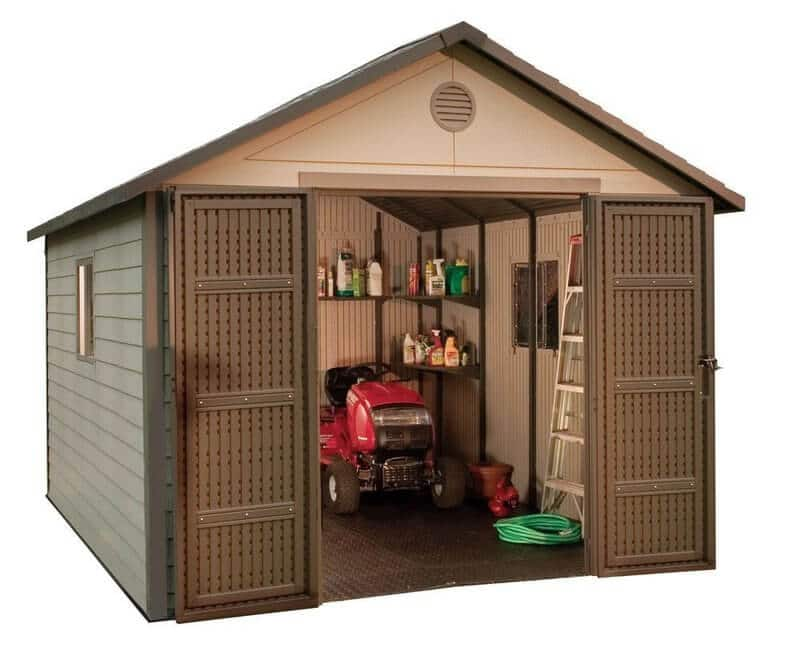 Lifetime Outdoor Storage Shed with Windows and Skylights 11 ft x 11 ft