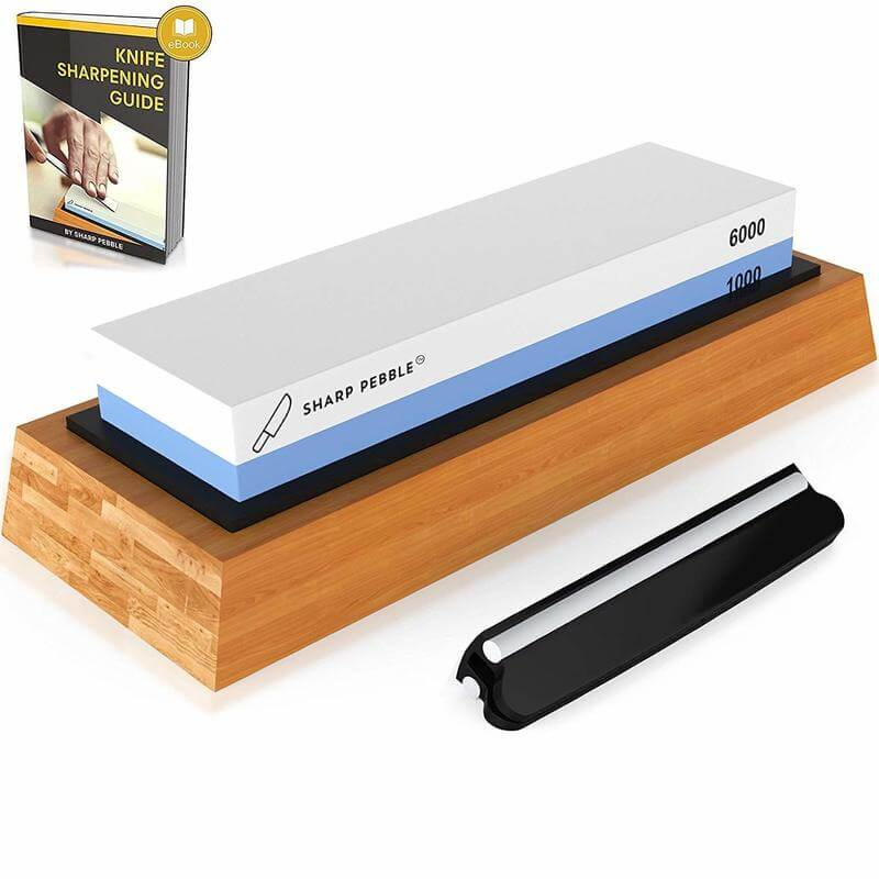 Premium Knife Sharpening Stone 2 Side Grit 1000 and 6000 Waterstone Best Whetstone Sharpener NonSlip Bamboo Base and Angle Guide