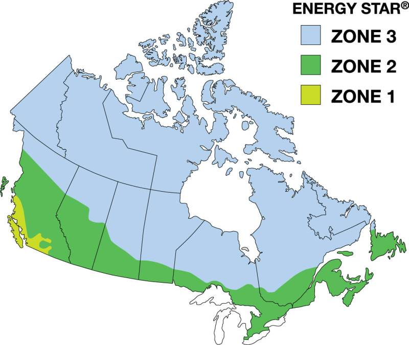 Three Weather Zones in Canada