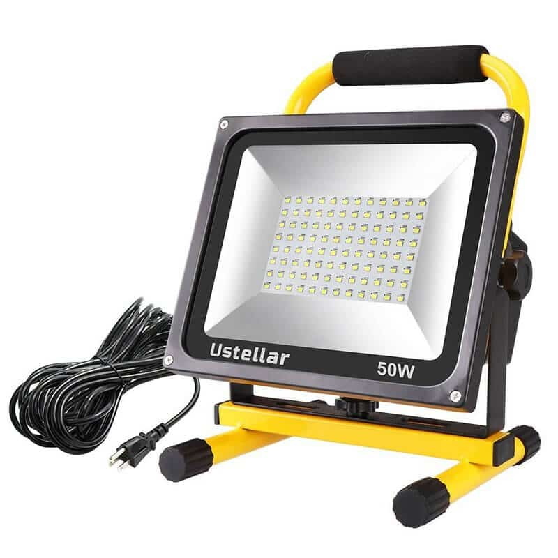Ustellar 4500LM 50W LED Work Light (400W Equivalent), 2 Brightness Levels, Waterproof Flood Lights, 16ft 5M Wire with Plug, Stand Working Lights for Workshop, Construction Site, 6000K Daylight White