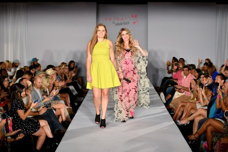 MIAMI BEACH, FL - JULY 13: Designer Amanda Perda (R) walks the runway at Versakini x Amanda Perna Runway Show Presented By Ivy at W South Beach on July 13, 2016 in Miami Beach, Florida. (Photo by Slaven Vlasic/Getty Images for Versakini)