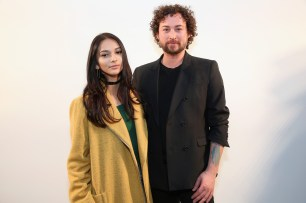 NEW YORK, NY - FEBRUARY 12: Karina Rae (L) Marcel Ostertag attend the Marcel Ostertag collection during, New York Fashion Week: The Shows at Gallery 3, Skylight Clarkson Sq on February 12, 2017 in New York City. (Photo by Monica Schipper/Getty Images for New York Fashion Week: The Shows)