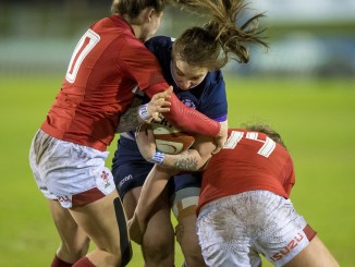 Jade Konkel comes up against the Welsh defence.