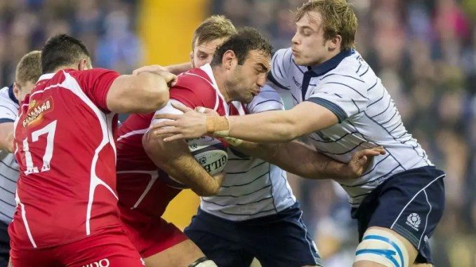 Mamuka Gorgodze of Georgia and Jonny Gray of Scotland in action when the two nations met at Rugby Park in November 2016