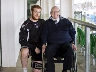 Jim Taylor with Glasgow Warriors stalwart Rob Harley