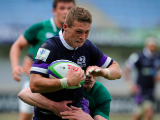 Scotland U20 full-back Paddy Dewhirst in action against Ireland at the World Rugby U20 Championship