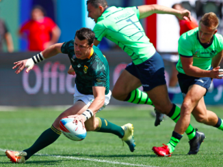 South Africa's Ruhan Nel scores a try against Scotland on day two of the Rugby World Cup Sevens 2018 at AT&T Park in San Francisco