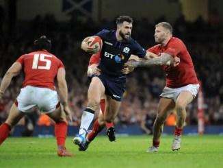 Scotland centre Alex Dunbar makes a break against Wales