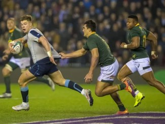 Scotland centre Huw Jones was a handful for South Africa's defence