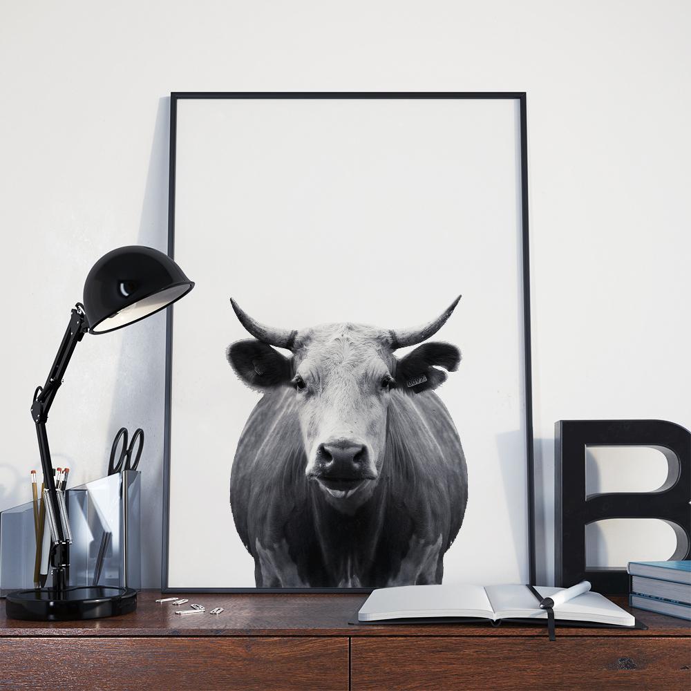 Minimal Cow Wall Art