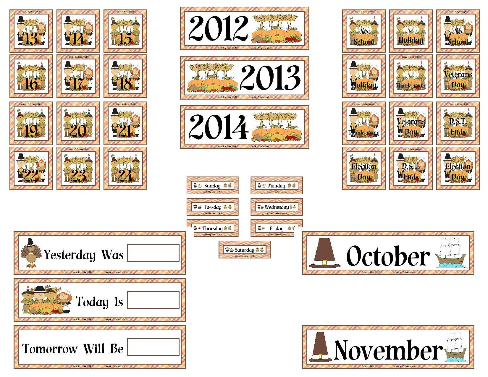Thanksgiving Harvest Calendar Set