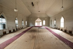 Interior view of the empty church, Hopewell Baptist Church, Jasper County, Georgia