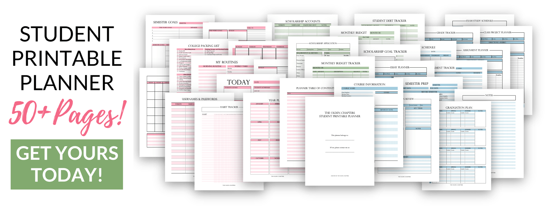 This student printable planner is perfect for students in college, high school, middle, elementary and home school. Includes hundreds of pages and templates that will help your time management, goal setting, personal development, organization, and more! Includes layouts for daily, weekly, and monthly planning as well as calendars, cleaning schedules, shopping lists, meal planning and everything in between to organize your life. Read now to learn about the perfect student planner today! #college