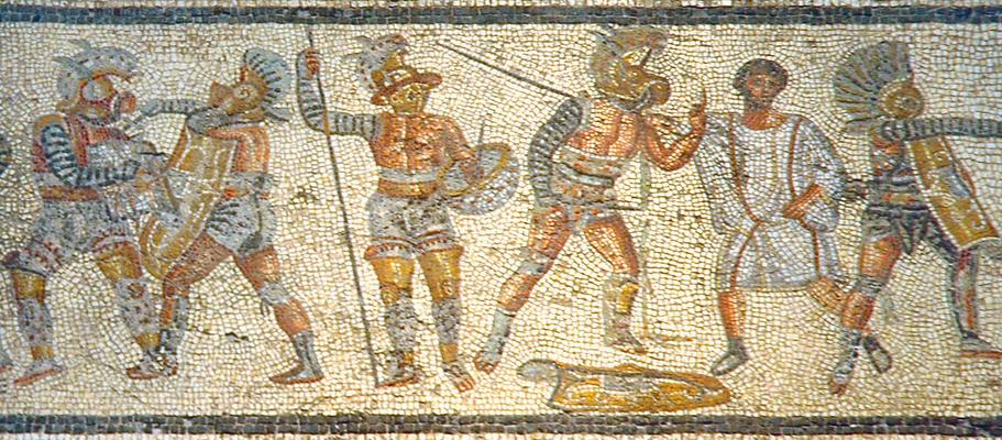 Gladiators from the Zliten mosaic (c. 2nd century BCE). Fat fucks., all of them!