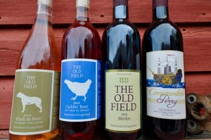 The Old Field, Wine Bottles, Commodore Perry, The Old Field 2010 Merlot, The Old Field 2014 Cacklin Rose, The Old Field 2014 Blush de Noir, red barn