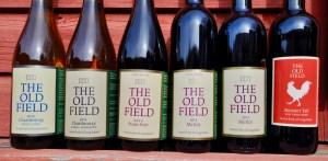 wine bottles, six wine bottles, The Old Field, The Old Field Vineyards