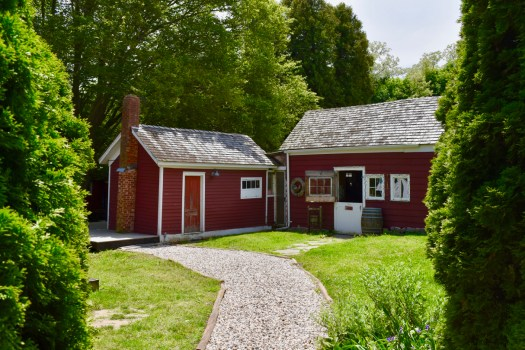 Our 1860's tasting barns with pathway.