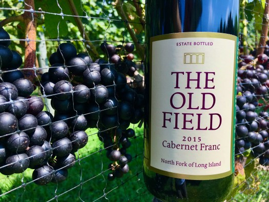 A bottle of Cabernet Franc with some red grape clusters in background.