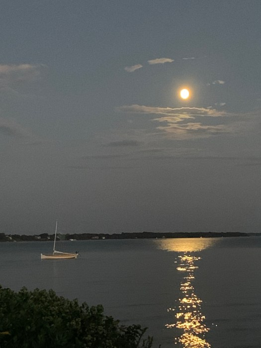boat under the flu moon on the Bay.