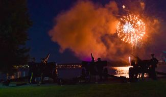 Soldiers from the Presidential Salute Battery, assigned to the 3d U.S. Infantry Regiment (The Old Guard), participate in Alexandria City Birthday Celebration at Oronoco Bay Park, Alexandria, Va., on July 8, 2017. Soldiers joined music and entertainment groups in a celebration to honor America's birthday and the 268th birthday of the City of Alexandria. (U.S. Army photos by Sgt. Nicholas T. Holmes)