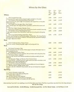 One side of the wine list