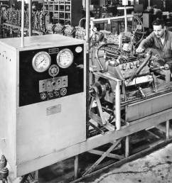 this machine is a dynamometer used for testing finished engines and its operator posing for the photo the exhaust pipes are not installed yet  [ 1283 x 1154 Pixel ]