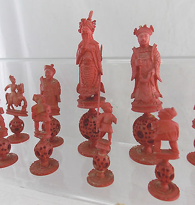 Antique 1800 S Cantonese Puzzle Ball Hand Carved Bone Chess Set Pieces Qg S36 The Old Toy Guide