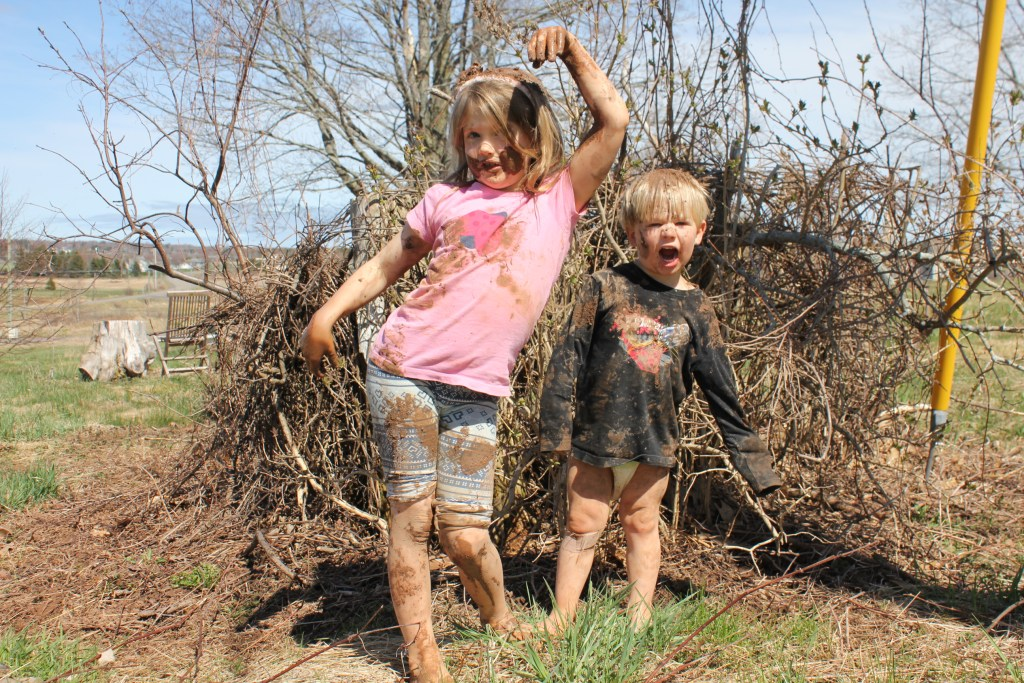Kids planting fruit trees