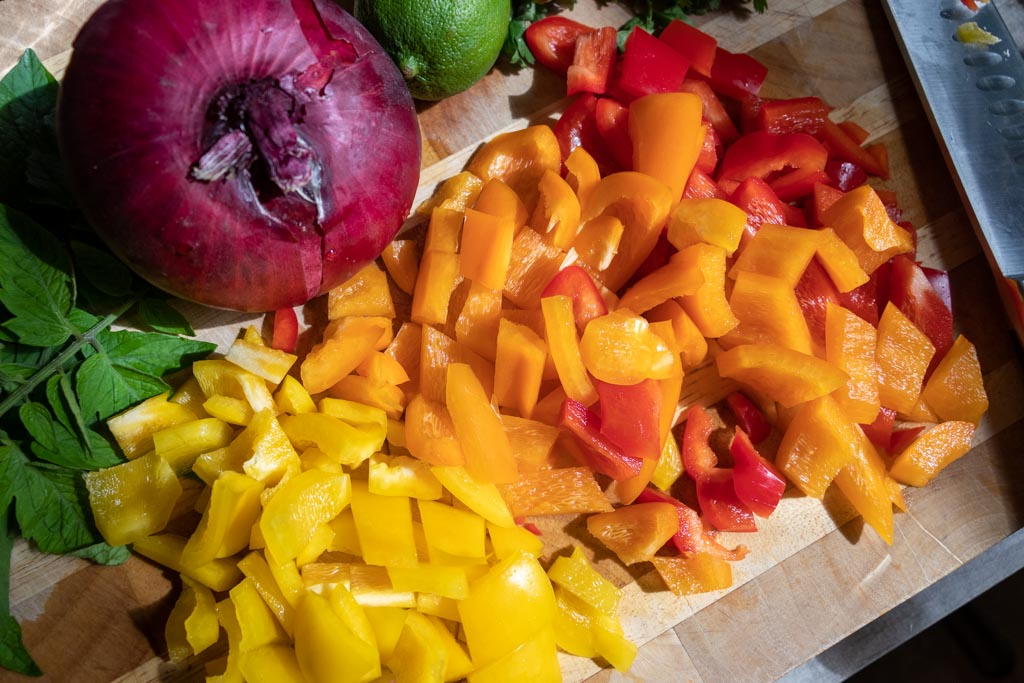 Chopped bell peppers