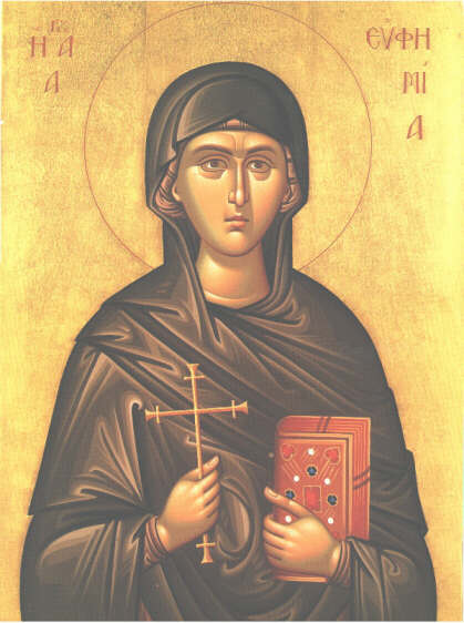 Sfanta Mucenita Eufimia tinand in mana cartea Sfintitlor Parinti ce continea dreapta credinta