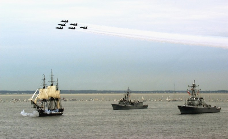 USS Constitution Underway With Blue Angels And US Naval Escort