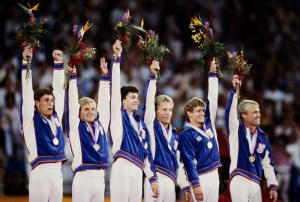 31 JUL 1984:  THE UNITED STATES TEAM CELEBRATE AFTER RECEIVING THEIR GOLD MEDALS FOR THEIR VICTORY IN THE MENS TEAM GYMNASTICS COMPETITION AT THE 1984 LOS ANGELES OLYMPICS. THE USA TEAM COMPRISES PETER VIDMAR, BART CONNER, MITCHELL GAYLORD, TIMOTHY DAGGETT, JAMES HARTUNG AND SCOTT JOHNSON.