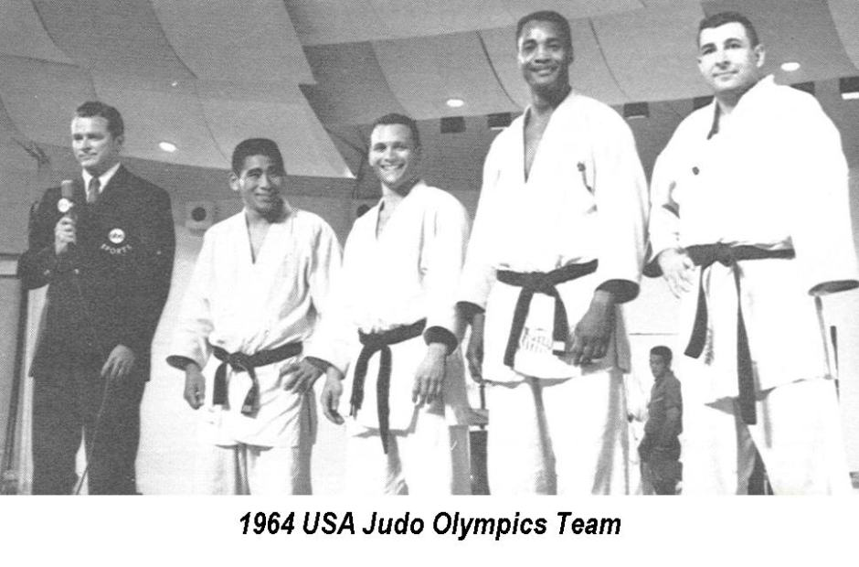 Team picture of 1964  US Judo Team from DC Judo; from left to right: Paul Maruyama, Jim Bregman, George Harris, Ben Nighthorse Campbell)