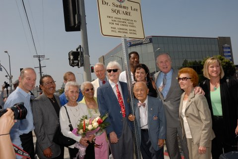 August 05, 2010: NE Corner of Olympic Blvd. and Normandie Ave. (just North of Olympic Blvd.), Councilmembers Wesson and LaBonge attend the dedication of Dr. Sammy Lee Square. Dr. Samuel (