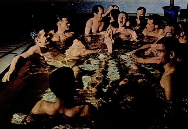 After sampling sake and squid and trading toasts with geisha girls, they wound up neck-deep in a Japanese bath. - Life Magazine, October 30, 1964