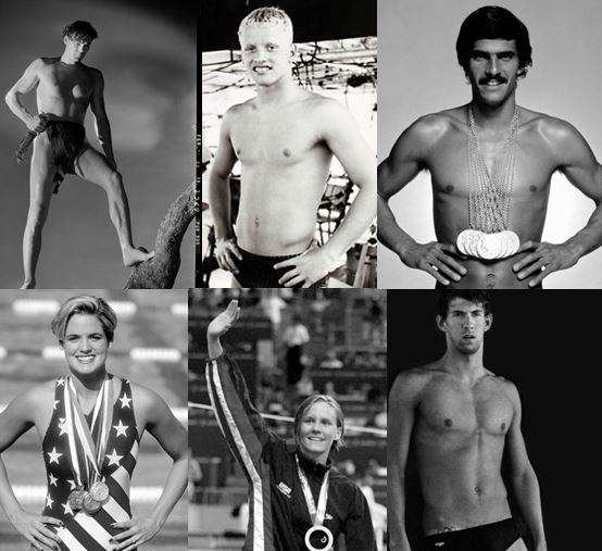 From upper left clockwise: Johnny Weissmuller: 5 gold medals in 1924 and 1928; Don Schollander: 4 gold medals in 1964; Dara Torres: 4 gold, 4 silver and 4 bronze in 1984, 1988, 1992, 2000 and 2008; Mark Spitz: 9 gold, 1 silver and 1 bronze in 1968 and 1972; Jenny Thompson: 8 gold, 3 silver and 1 bronze in 1992, 1996, 2000 and 2004; Michael Phelps: 18 gold, 2 silver, 2 bronze in 2004, 2008 and 2012