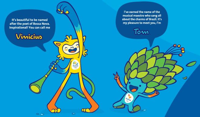 Vinicius and Tom, the Mascots for the 2016 Rio Olympics