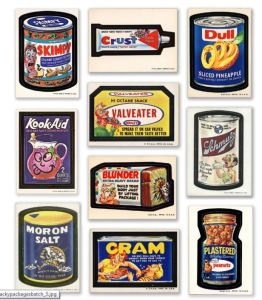 Examples of Wacky Packages, stickers I collected as a youth.