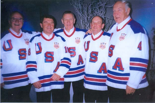 (L-R): Bill Cleary, Dick Meredith, Weldy Olson, Dick Rodenhiser, and John Mayasich were on the 1956 and 1960 US teams