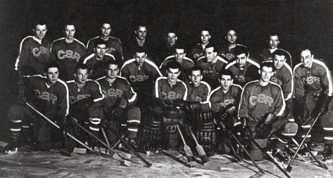 Czech goaltender, Vladimir Dvoracek, sits in the front row, fourth from the left.