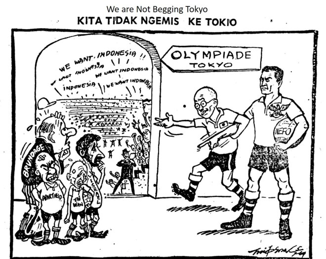CARTOON: We are Not Begging Tokyo, Warta Bhakti - 5 July 1964