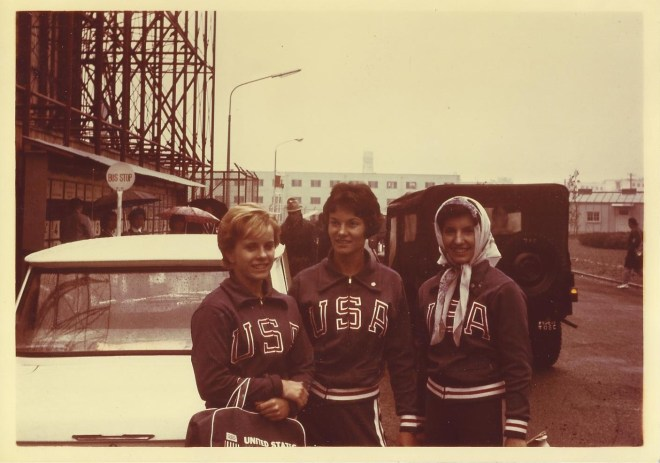 Dale McClements, Kathy Corrigan and Linda Matheny in the Olympic Village, Olympics, from Dale McClemments Kephart's personal collection