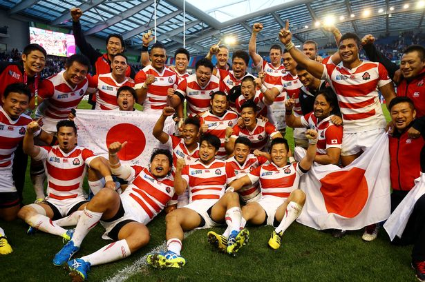Japan rugby union team in gloucester brave blossoms