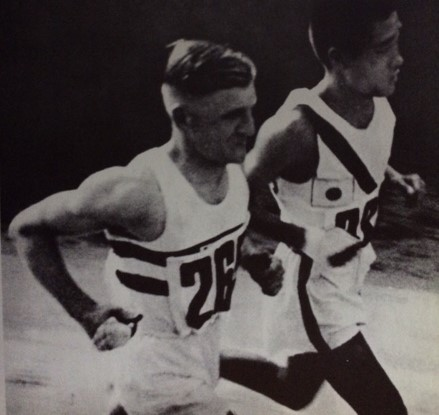 """Sohn Kee-chung running under the Japanese flag as Kitei Son, from the book """"A Picture History of the Olympics"""""""