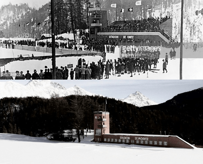 Stadion St Moritz_1928 and Present Day
