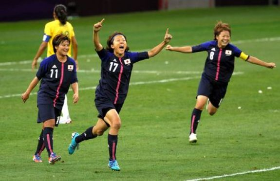 Japan Women's Soccer Team beats Brazil in 2012 Olympic Play