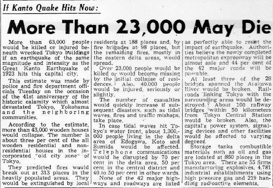 Earthquake Casualty Estimates_Mainichi Daily News_Sept 1964
