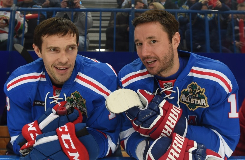 Pavel Datsyuk and Ilya Kovalchuk of SKA Saint Petersburg