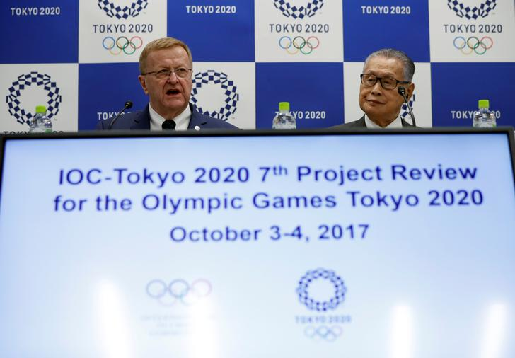 IOC Vice President John Coates and President of Tokyo 2020 Olympic and Paralympic organising committee Yoshiro Mori attend a news conference in Tokyo