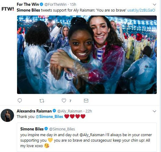Simone Biles tweets support for Aly Raisman